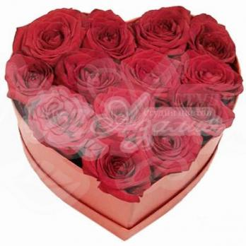 Сердце из 13 роз