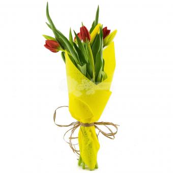 Букет из 7 тюльпанов в упаковке