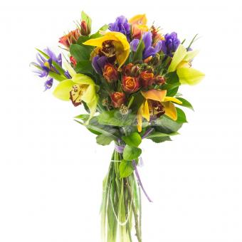 Букет с орхидеями и ирисами