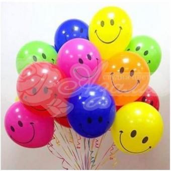 Фонтан из шаров «Разноцветные смайлы»